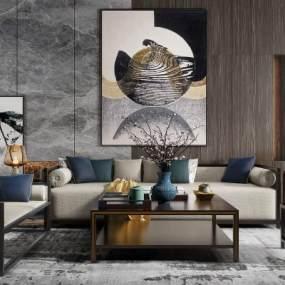 新中式客厅3D模型【ID:543466075】