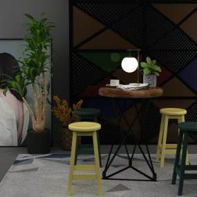 工业风休闲桌椅3D模型【ID:830748944】