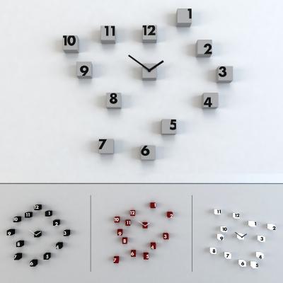 现代方块时钟墙饰3D模型【ID:334749372】