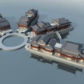 传统中式古建船坊3D模型【ID:247780107】