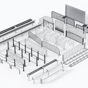 现代行车护栏3D模型【ID:149245405】
