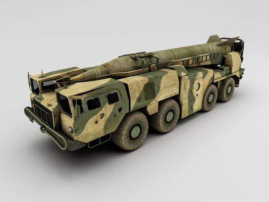 工業風軍用卡車3D模型【ID:436217240】