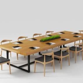 北歐鋼木會議桌3D模型【ID:950190132】