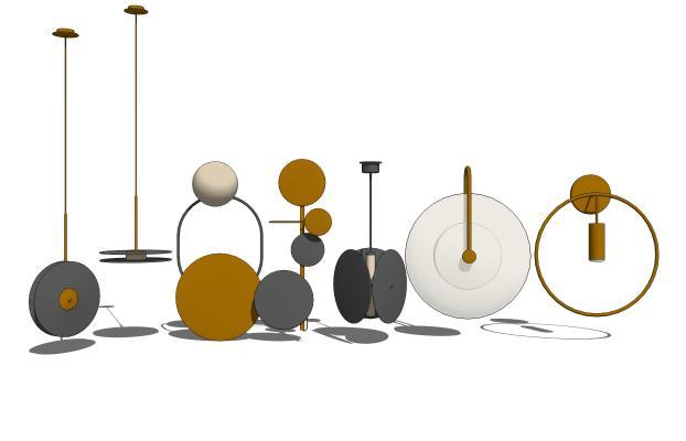 現代壁燈吊燈組合SU模型【ID:347758947】