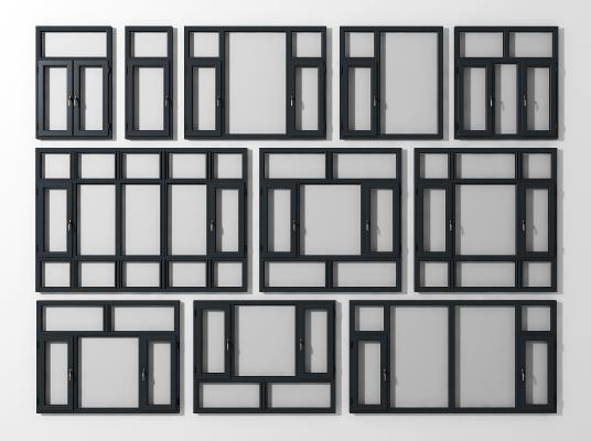 現代鋁合金窗組合3D模型【ID:339752238】
