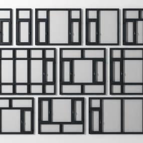 现代铝合金窗组合 3D模型【ID:339752238】
