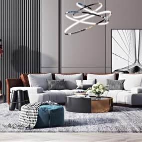 现代沙发组合3D模型【ID:644455794】