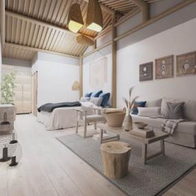 新中式民宿臥室吊燈3D模型【ID:743781383】
