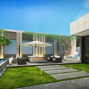 现代办公屋顶花园休息区3D模型【ID:947258414】