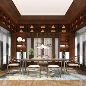 新中式茶室3D模型【ID:644083129】