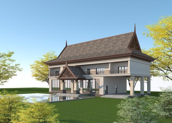 東南亞風格酒店3D模型【ID:146782914】