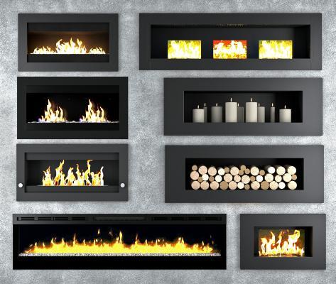 现代壁炉组合3D模型【ID:346534631】