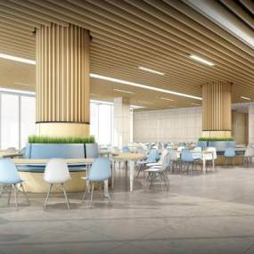 現代風格餐廳飯堂3D模型【ID:643297278】