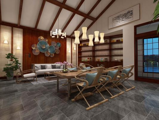 新中式茶楼3D模型【ID:642510679】