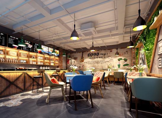 咖啡厅3D模型【ID:841773749】