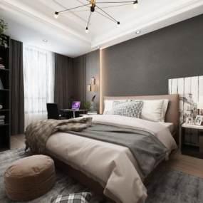 现代卧室主人房 3D模型【ID:541338223】