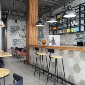 工业风奶茶店咖啡厅3D模型【ID:643334365】