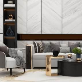 北欧现代沙发茶几组合现代客厅沙发 3D模型【ID:640923740】