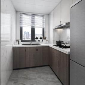 現代廚房3D模型【ID:552395376】
