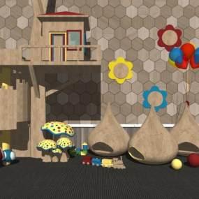 现代儿童游乐园木屋 玩具 蘑菇城堡【ID:153302320】