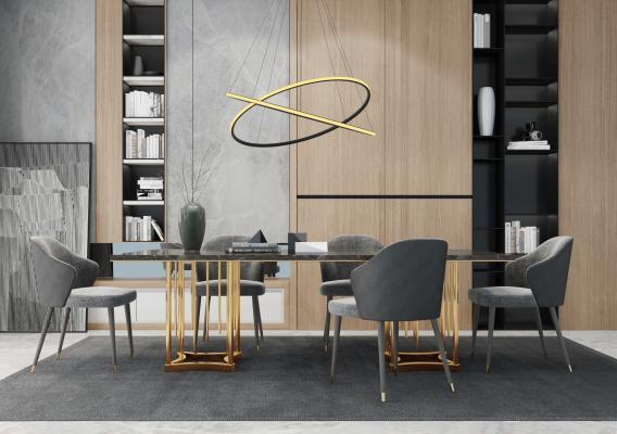 现代餐桌椅组合3D模型【ID:545769196】