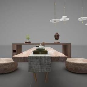 新中式風格休閑桌3D模型【ID:844151992】
