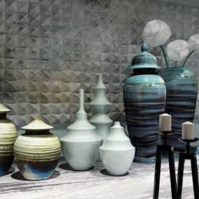 中式陶瓷罐装饰品摆件3D模型【ID:232173596】