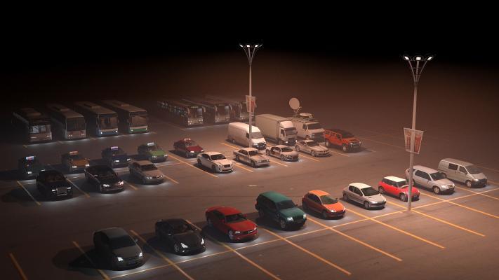现代汽车夜景3D模型【ID:435303633】