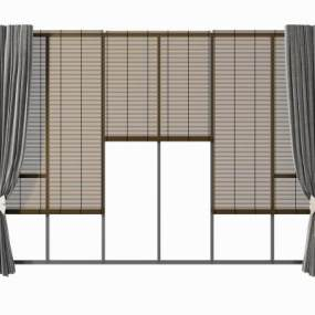 新中式竹帘卷帘组合3D模型【ID:244359637】