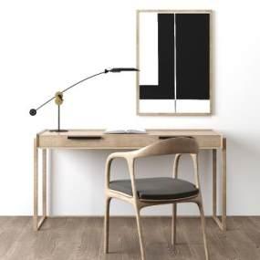 现代北欧书桌椅台灯挂画组合 3D模型【ID:941293067】