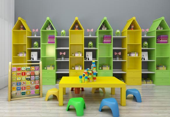 现代儿童书架儿童读物桌椅玩具组合3D模型【ID:930557350】