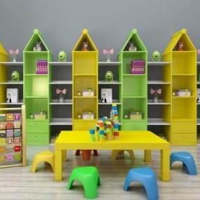 现代儿童书架儿童读物桌椅玩具组合365彩票【ID:930557350】