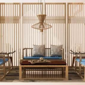 新中式沙发组合3D模型【ID:636229762】