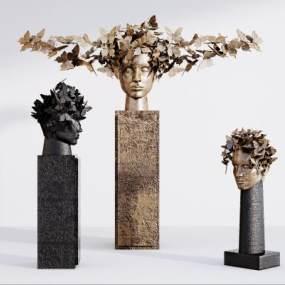 现代雕塑摆件组合3D模型【ID:345936182】