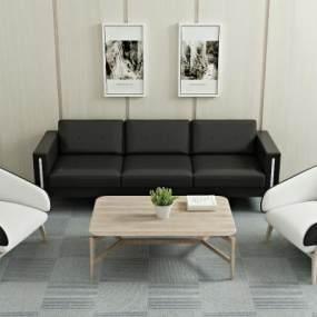 现代沙发茶几装饰画单体沙发3D模型【ID:635809762】