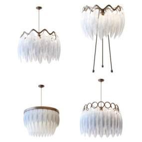 現代輕奢羽毛吊燈落地燈組合3D模型【ID:843875266】
