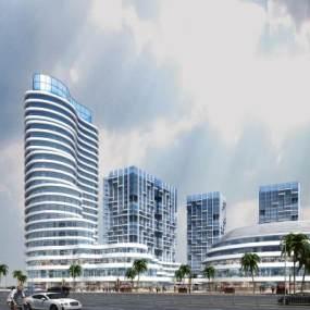 现代商业室外建筑异型建筑3D模型【ID:132168961】