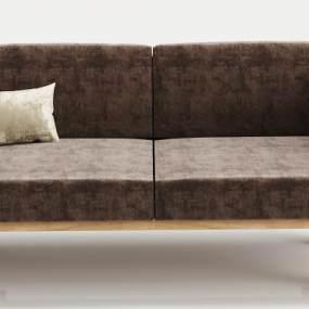现代实木绒布双人沙发3D模型【ID:634757566】