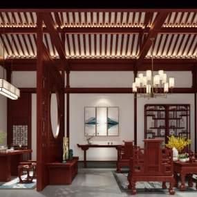 中式客厅3D模型【ID:544701093】