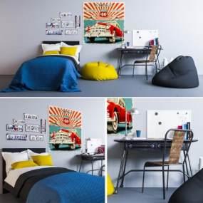 儿童房卧室家具组合3D模型【ID:832170812】