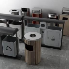 现代烟蒂桶垃圾桶3D模型【ID:433662534】