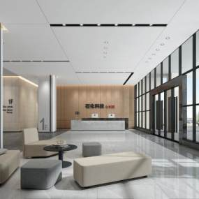 現代辦公大廳3D模型【ID:943465222】
