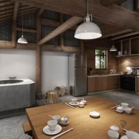 中式民宿廚房3D模型【ID:552477378】
