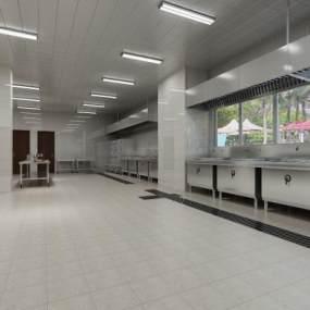 现代食堂大厅跟厨房3D模型【ID:636018946】