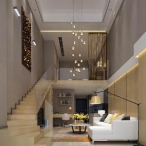 现代客厅组合沙发3D模型【ID:536069074】