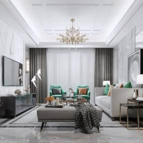 现代简约客厅地毯吊灯 3D模型【ID:541504072】