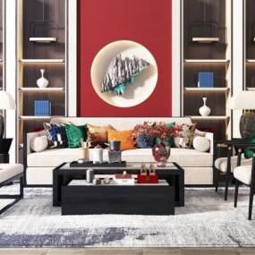 新中式沙发茶几组合3D模型【ID:635967760】