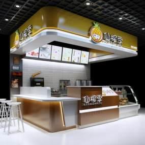 现代简约奶茶店3D模型【ID:643277426】