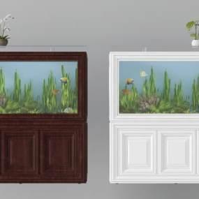 新中式鱼缸组合3D模型【ID:635726375】
