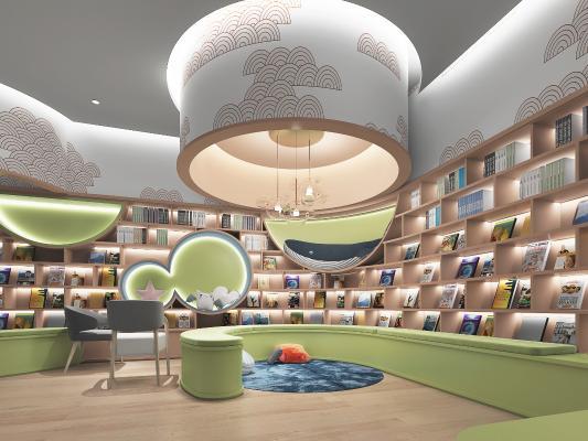 現代兒童成長俱樂部親子閱讀區幼兒園活動區3D模型【ID:941487896】